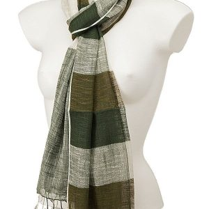 York Scarves Linen And Cotton Dark Olive