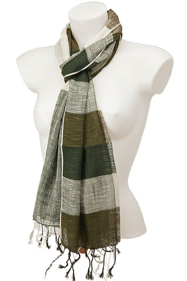 York Scarves Linen And Cotton Dark Olive