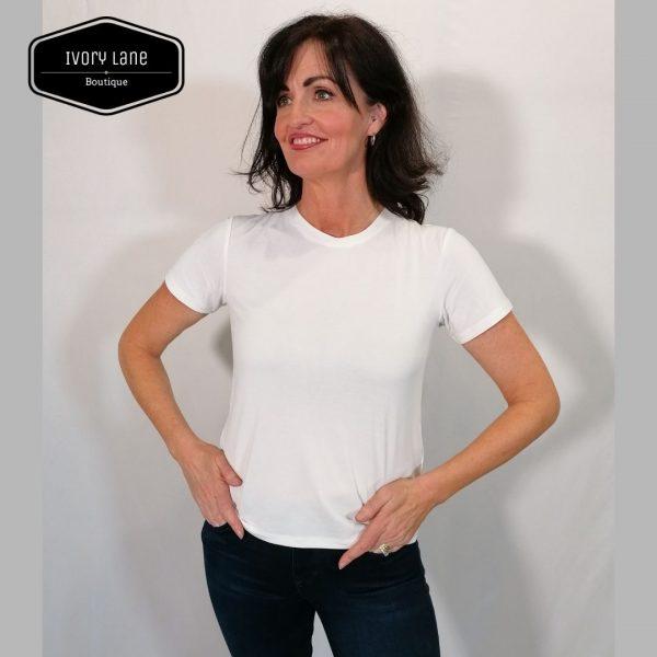 Soaked In Luxury SLColumbine Crew T-Shirt Broken White
