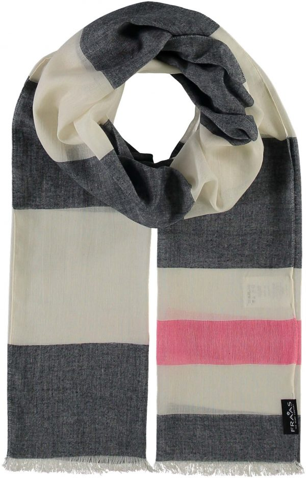 Fraas Sail Stripes Cotton Blend Woven Scarf Navy