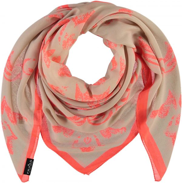 Fraas Stamped Mosaic Polyester Printed Oversized Square Orange