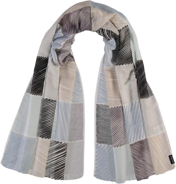 Fraas Doodle Blocks Polyester Printed Scarf Taupe