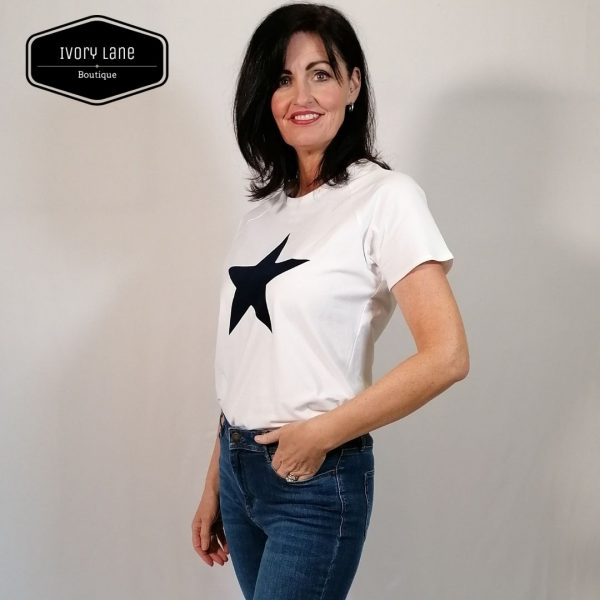 Chalk Clothing White Darcey T-Shirt Navy Star
