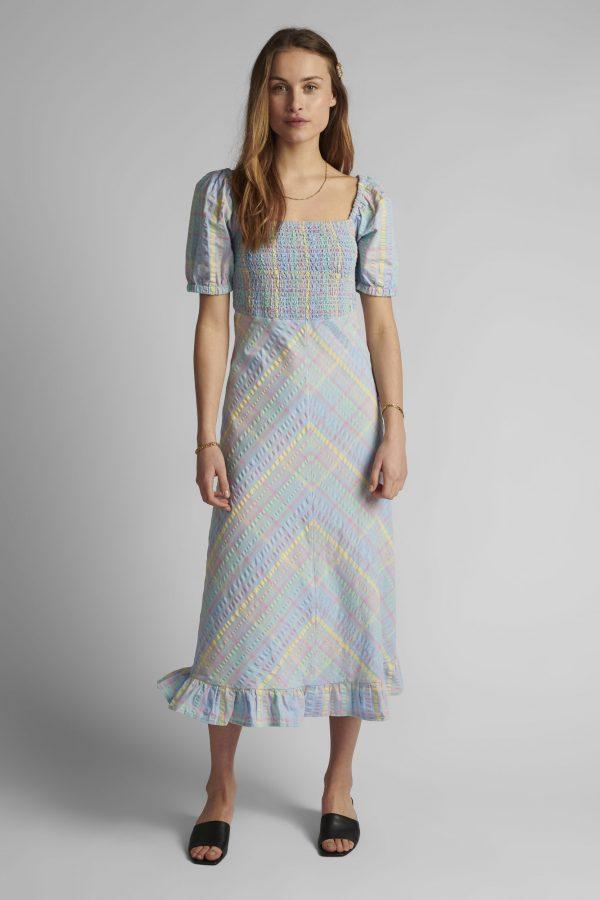 Numph Nuchecky Dress in Vista Blue