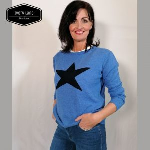 Luella Classic Star Jumper in Sea Blue/Navy