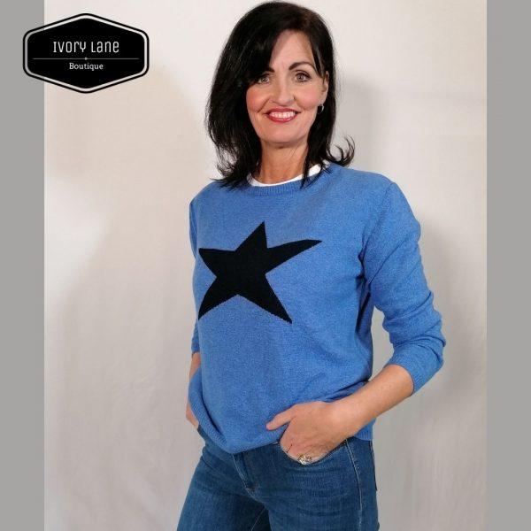 Luella Classic Star Jumper in Sea Blue/Navy