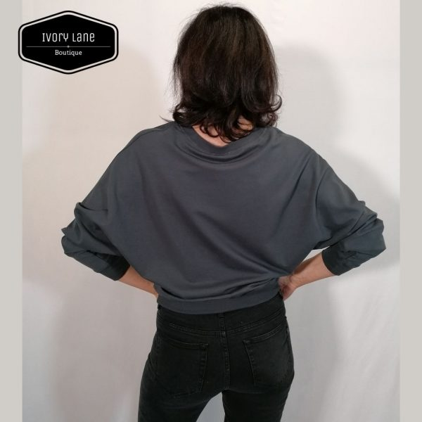 Chalk Clothing Daisy Batwing Sweatshirt in Charcoal