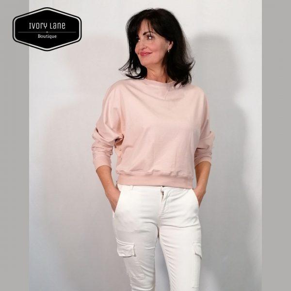 Chalk Daisy Batwing Sweatshirt in Dusky Pink