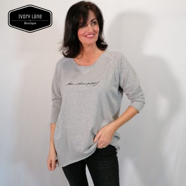 Chalk Clothing Layla Top Marl Grey with Black Print