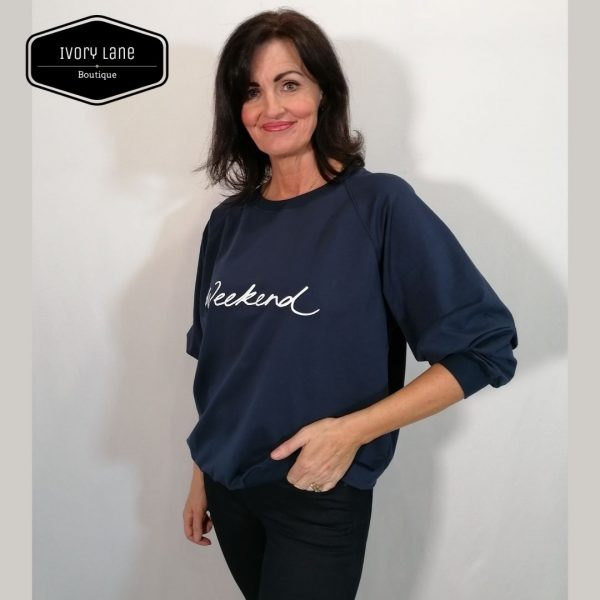 Chalk Clothing Nancy Oversized Comfy Sweatshirt in Navy
