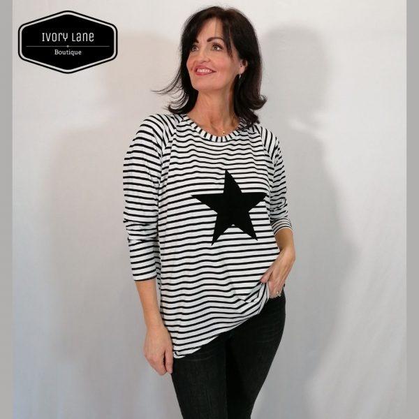 Chalk Robyn Black/White Stripe Giant Star