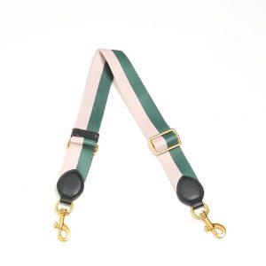 Smaak Adjustable Shoulder Strap in Green/ Pink Gold Hardware
