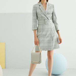 Perspective Alisa Elbise Dress in Gray