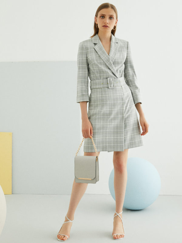 Perspective Alisa Elbise Dress in Gray