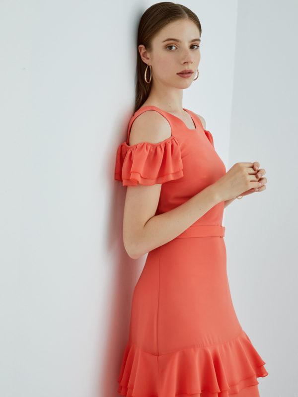 Perspective Orange Feo Elbise Dress