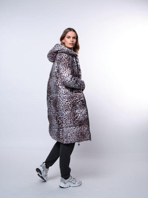 Beaumont Leopard Puffer Coat Grey