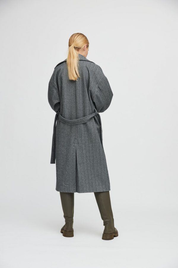 A-View Prisca Coat in Grey/black Herringbone