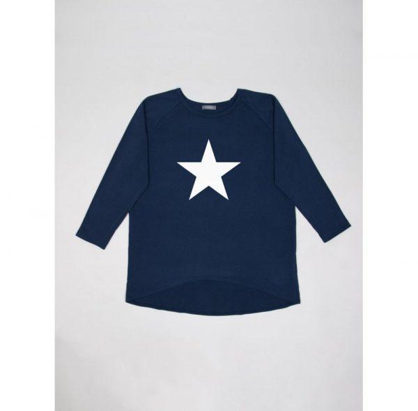 Chalk Clothing Robyn Navy Top White Star