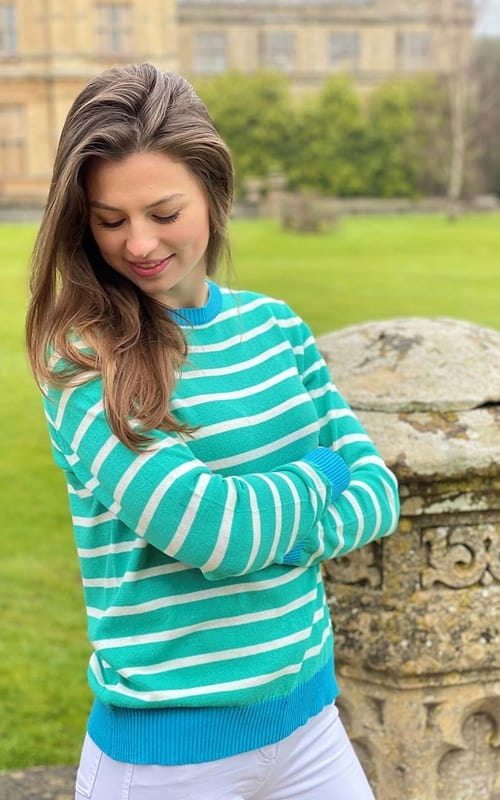 Luella Brittany Green/White/Turquoise Knit