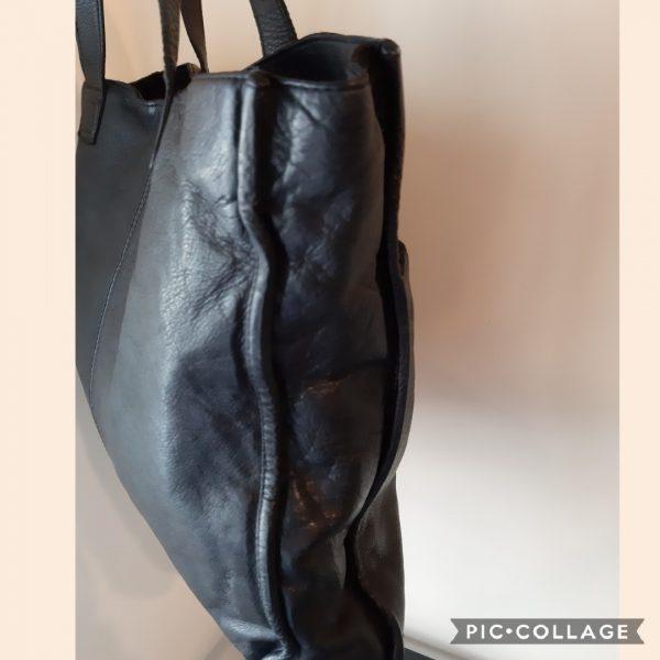 Cigno Nero Black Leather, cow wash, Shopper Bag