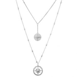 Compass layering necklace silver betty and biddy
