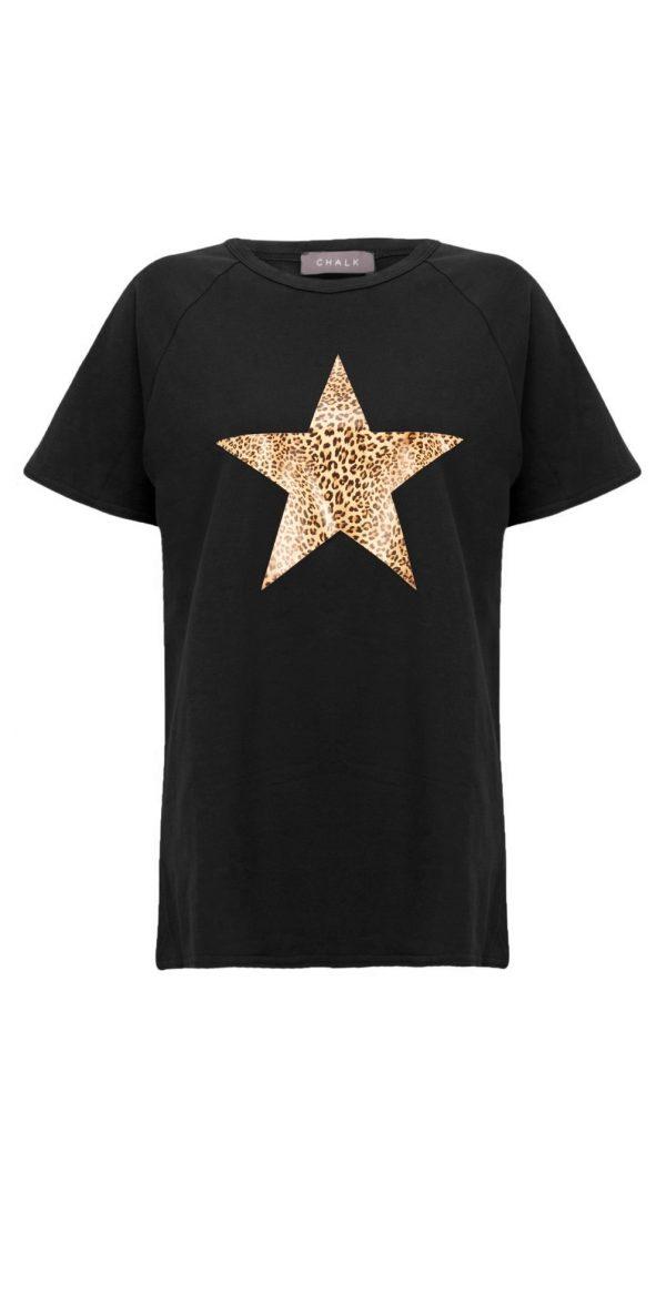 Chalk Darcey T-Shirt Black Leopard Star