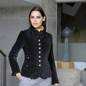 Bariloche Pozuelo black velvet military jacket