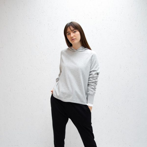 Chalk Super-soft Casual Knit Hannah Hoodie in Silver