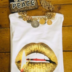 Gina Potter Gold Matchstick Lips T-Shirt