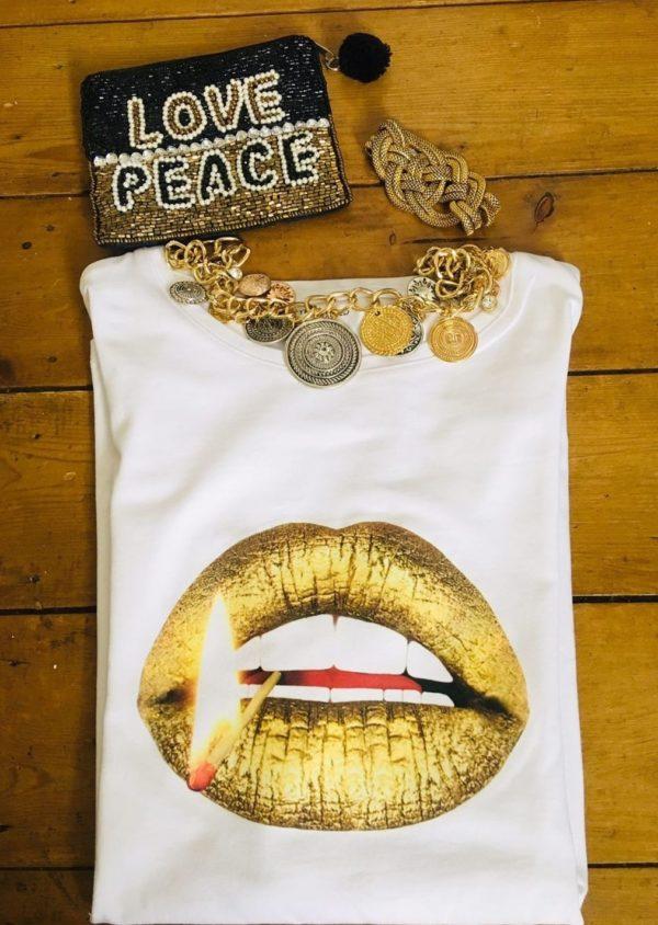 Gina Potter Gold Matchstick Lips T-Shirt