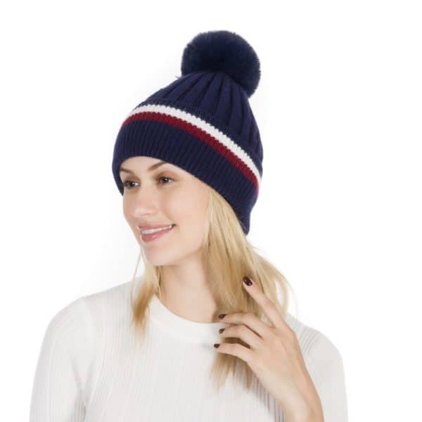 Peach Accessories Plain cashmere blend wool hat in navy