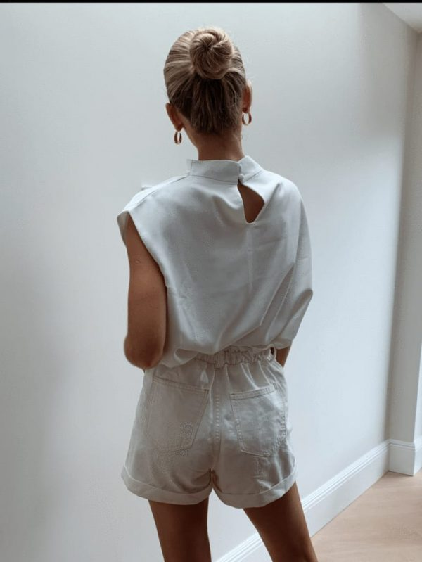 Pretty Lavish Farrah Funnel Neck Blouse in White