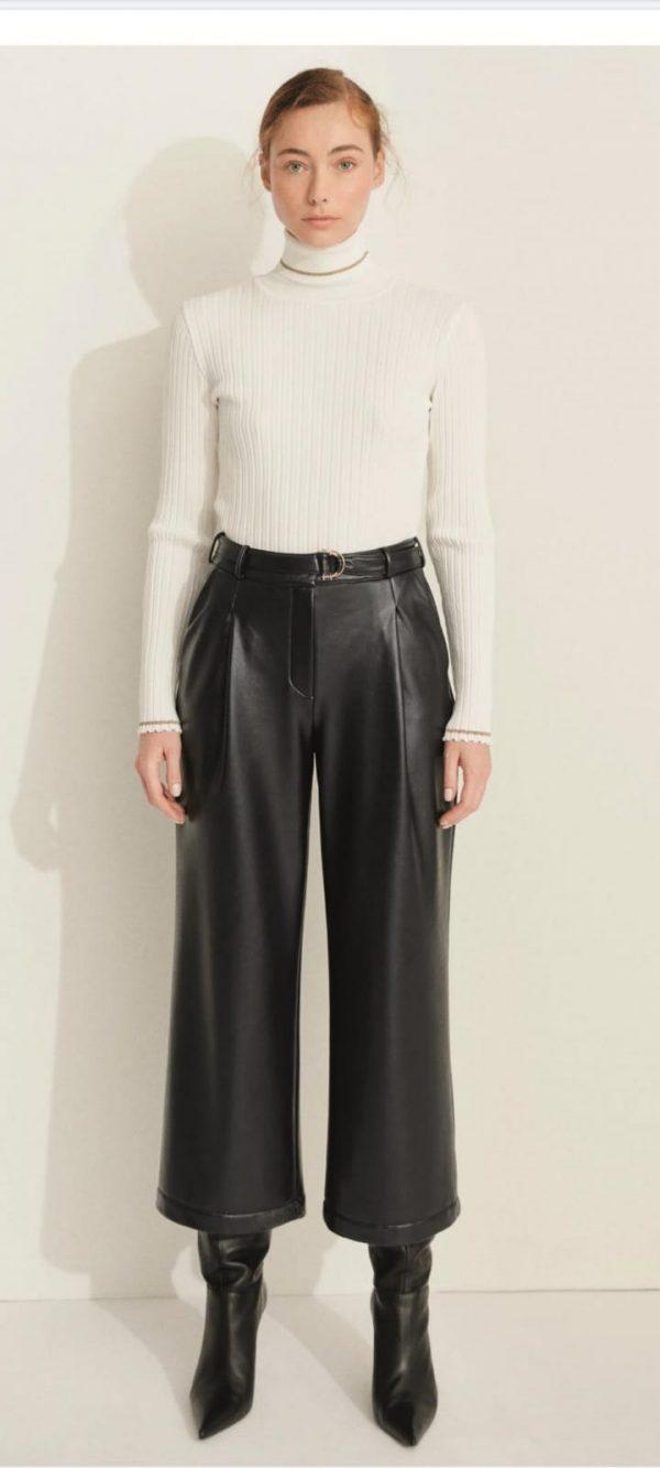 Perspective Linette Faux Leather Dark Navy Culottes