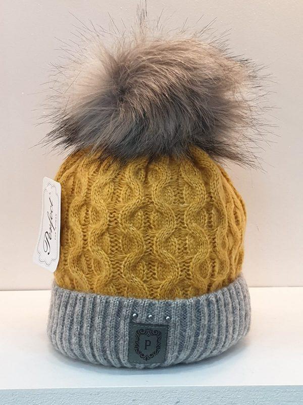 Perfect Hats Olga Two Tone Mustard Grey