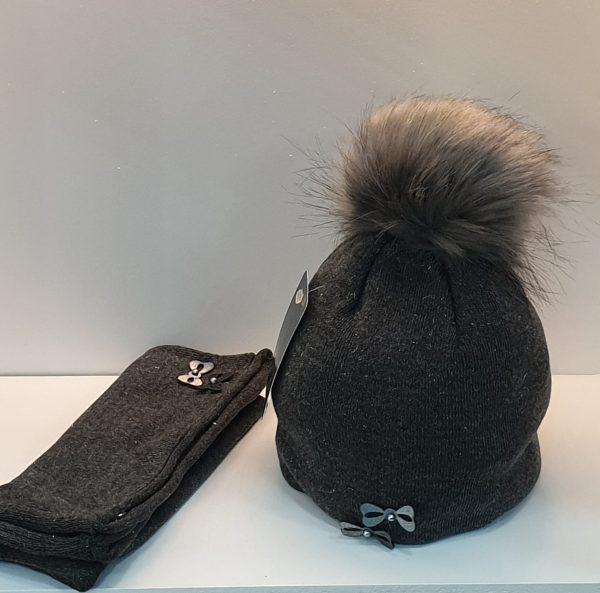 Perfect Hat Natalia Snood Set Dark Grey