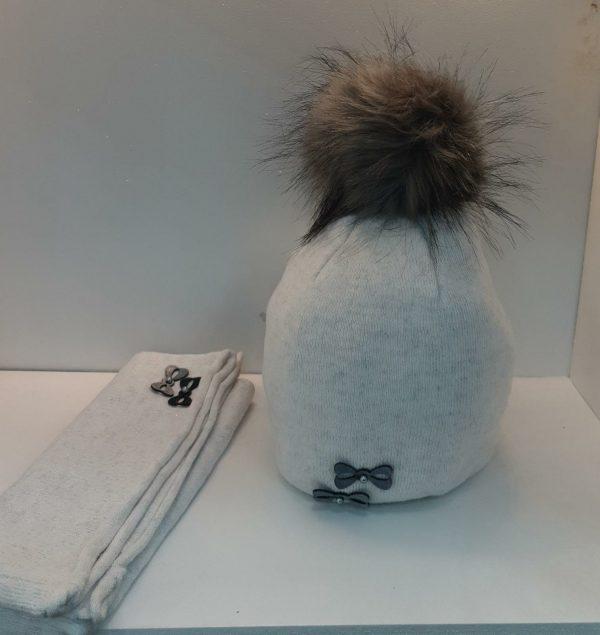 Perfect Hat Natalia Snood Set Light Silver Grey