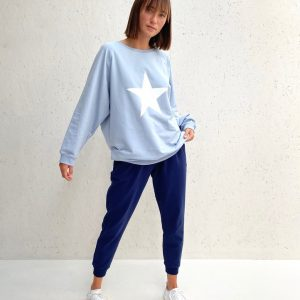 Chalk Clothing Nancy Oversized Comfy Sweatshirt in Baby Blue
