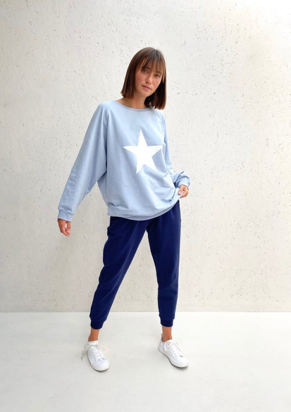 Chalk Clothing Nancy Oversized Comfy Sweatshirt in Baby Blue