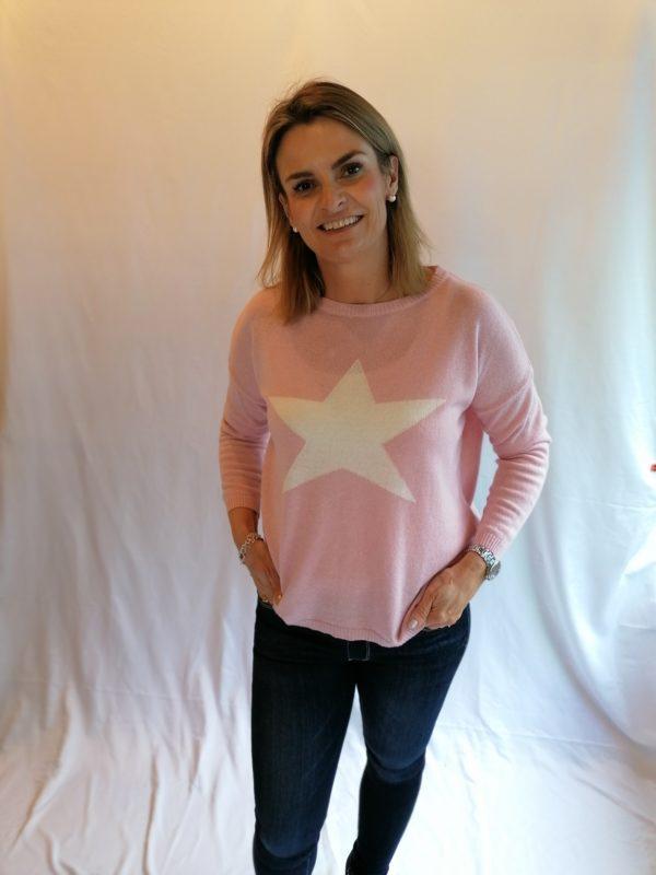 Luella Classic Star Jumper in Pink\White