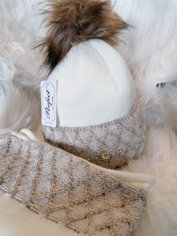 Perfect Hats Ecru & Snood Set