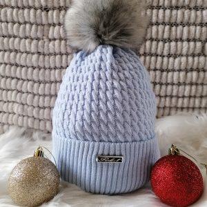 Pale Blue Pom Pom Hat