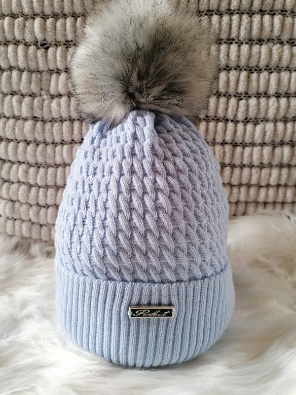 Perfect Pale Blue Pom Pom Hat