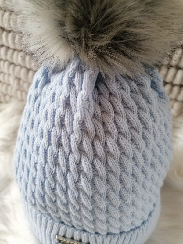 Perfect Pale Blue Pom Pom Hat