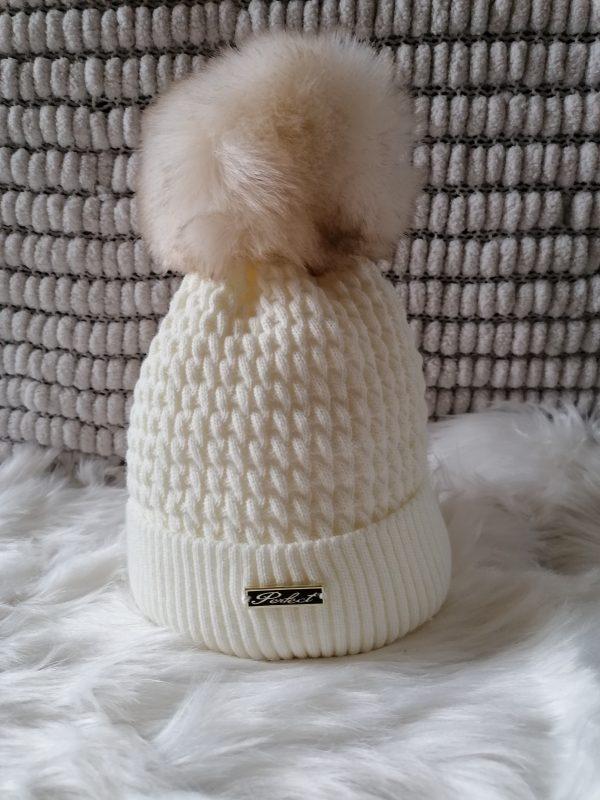 Cream Pom pom hat