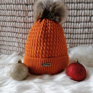 Burnt Orange Pom Pom Hat