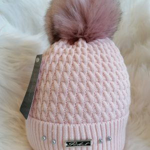 Perfect Baby Pink Pom Pom Hat With Beads