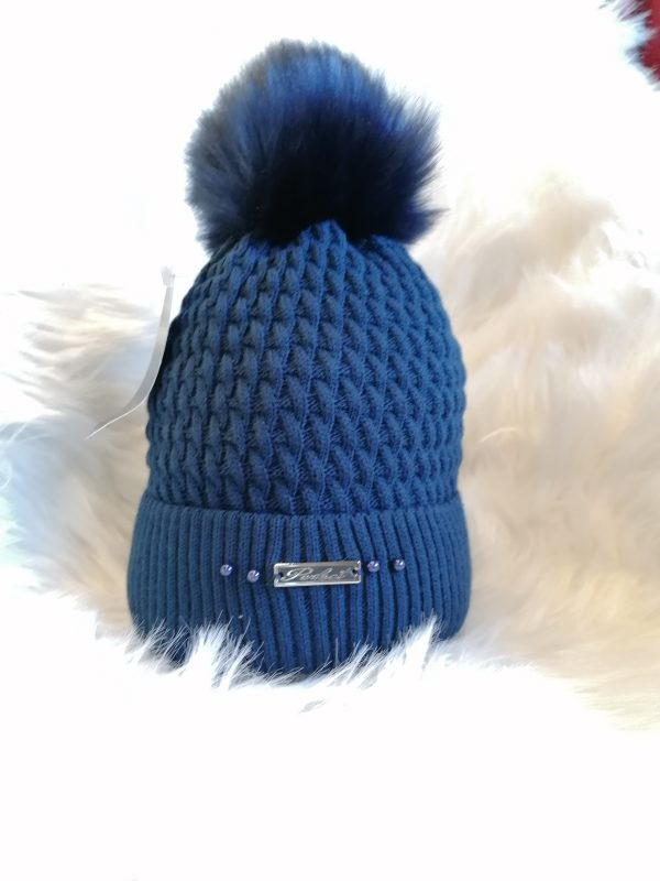 Perfect Navy Pom Pom Hat With Beads