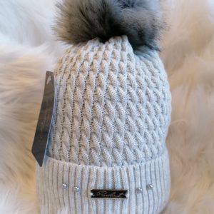 Perfect Light Grey Pom Pom Hat With Beads