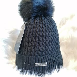 Perfect Black Pom Pom Hat With Beads