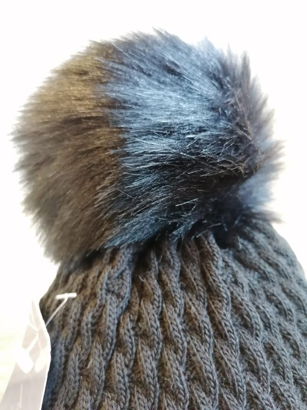Perfect Black Pom Pom Hat With Beads